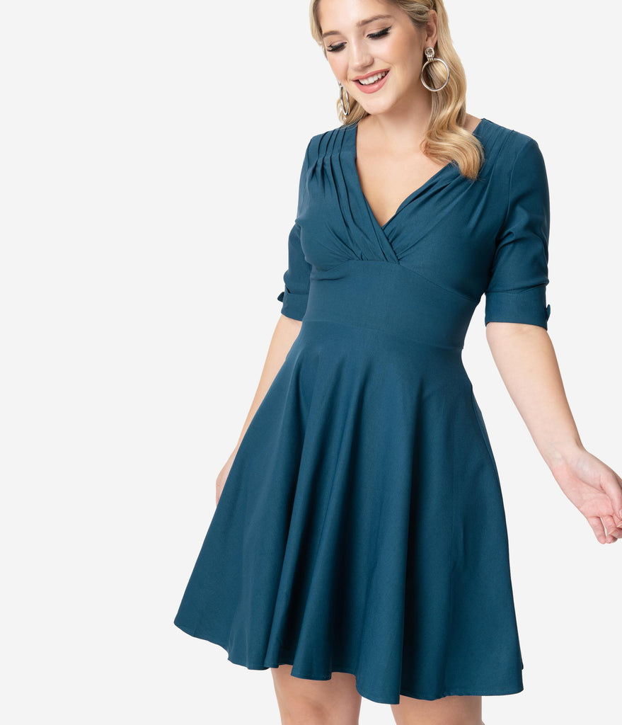 Unique Vintage 1950s Dark Teal Delores Fit & Flare Dress