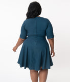 Unique Vintage Plus Size 1950s Dark Teal Delores Fit & Flare Dress