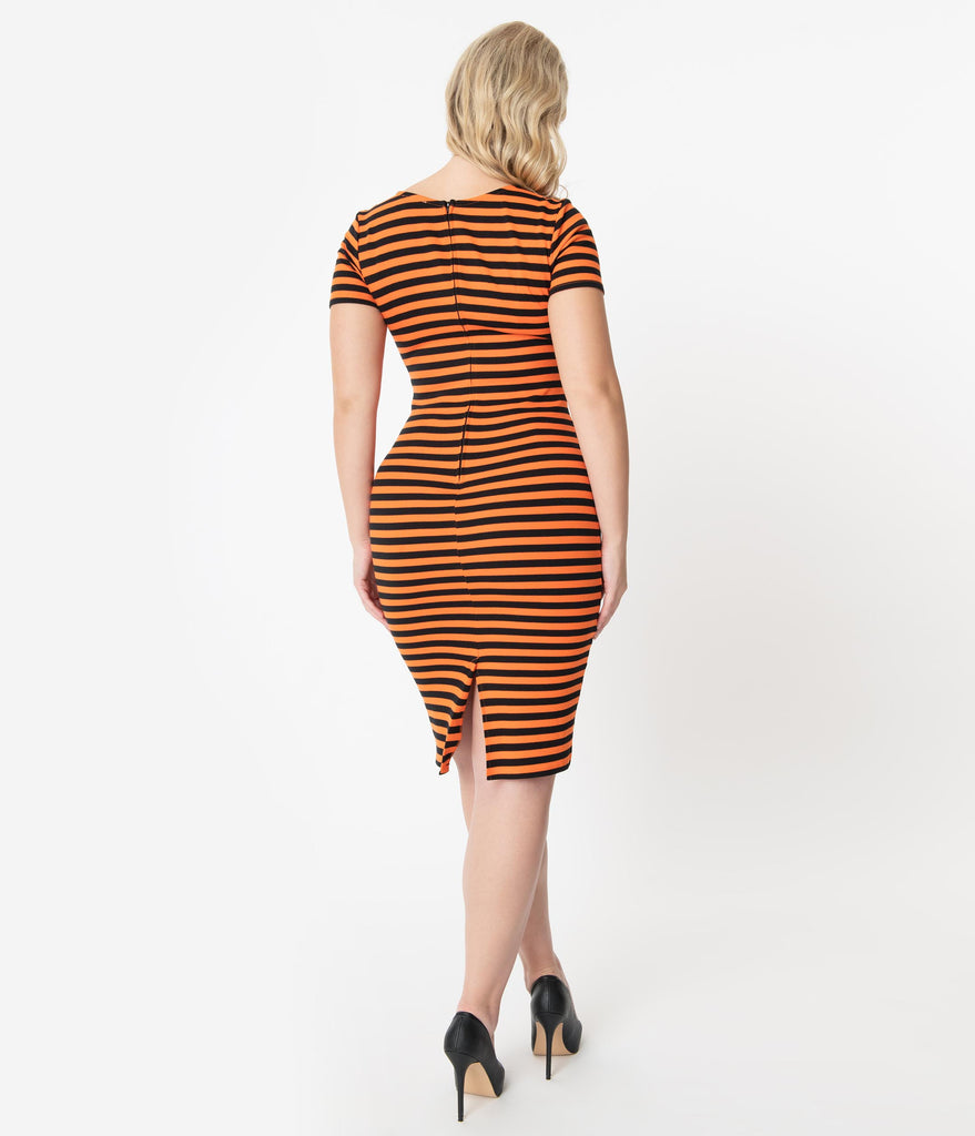 Daily Deal! Unique Vintage 1960s Black & Orange Stripe Presley Wiggle Dress