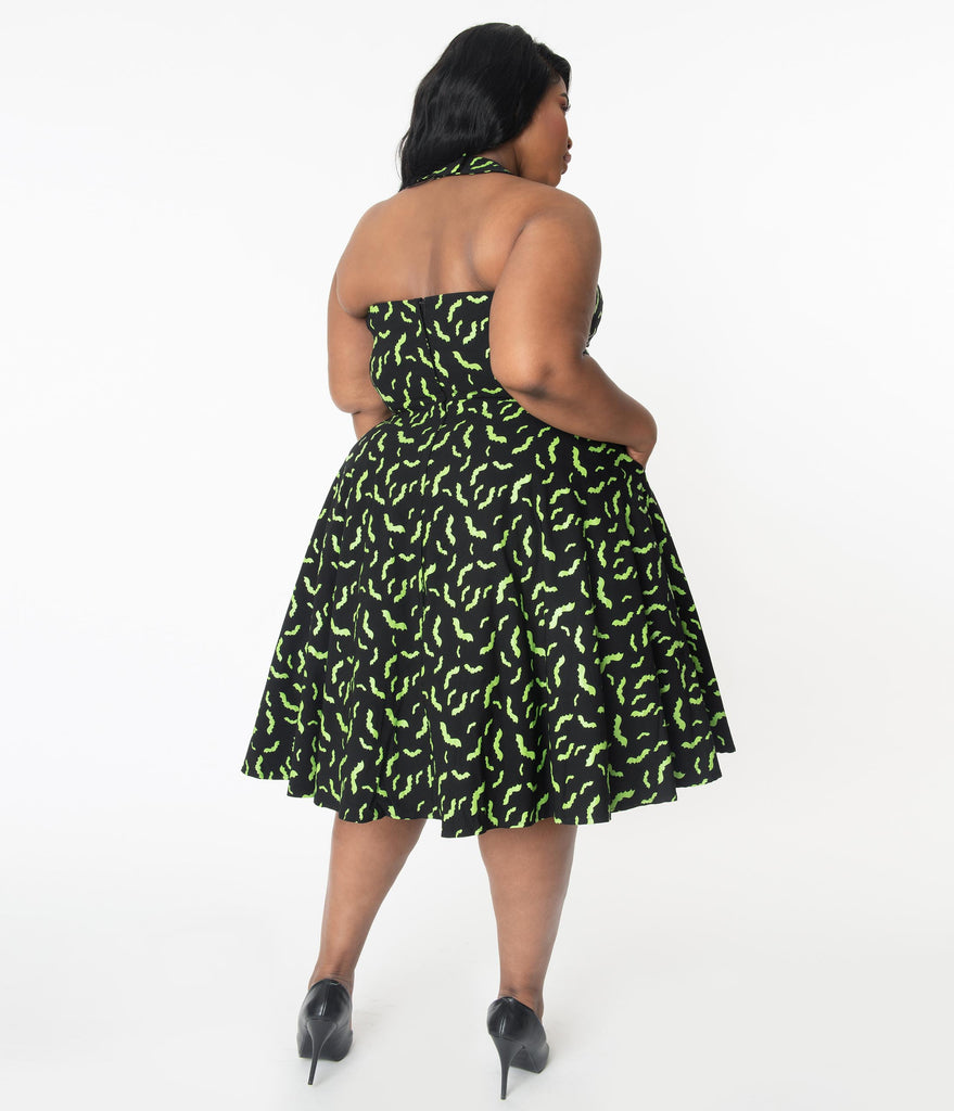 Unique Vintage Plus Size Black & Neon Green Bats Rita Flare Dress