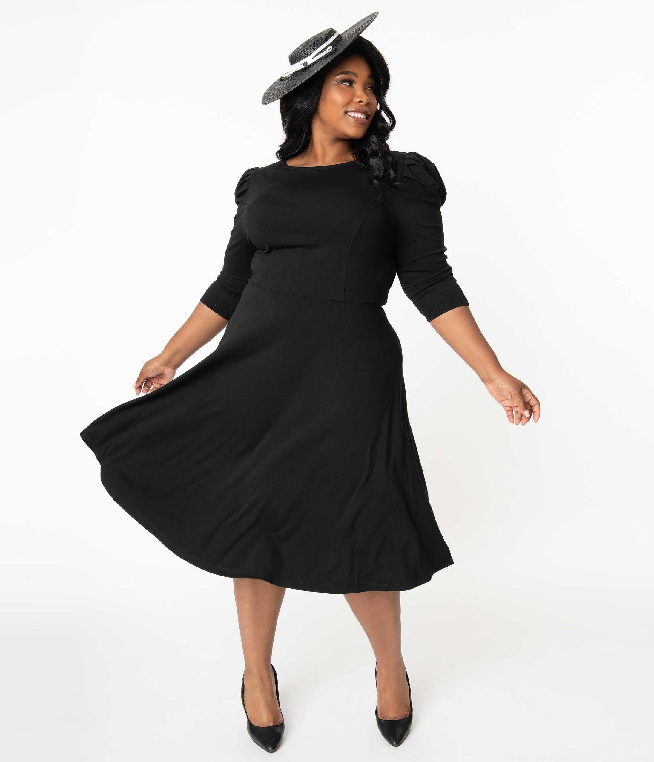 1940s Plus Size Fashion: Style Advice from 1940s to Today Unique Vintage Plus Size Black Garber Fit  Flare Dress $72.00 AT vintagedancer.com