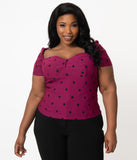 Unique Vintage Plus Size Purple & Black Polka Dot Nora Top