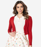 Red Three-Quarter Sleeve Button Up Crop Cardigan