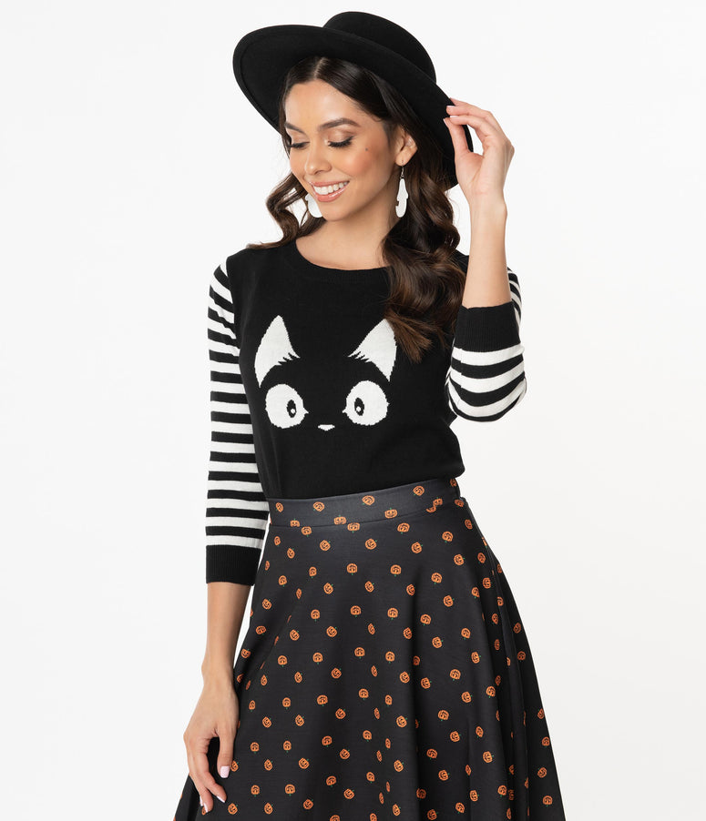 Black & White Stripe Knit Kitty Sweater