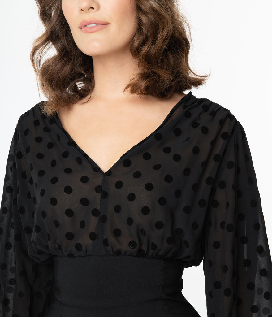 Unique Vintage Black Swiss Dot Swanson Wiggle Dress