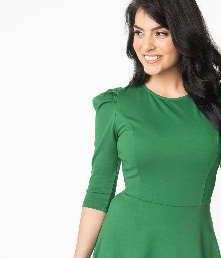 Unique Vintage Green Garber Fit & Flare Dress