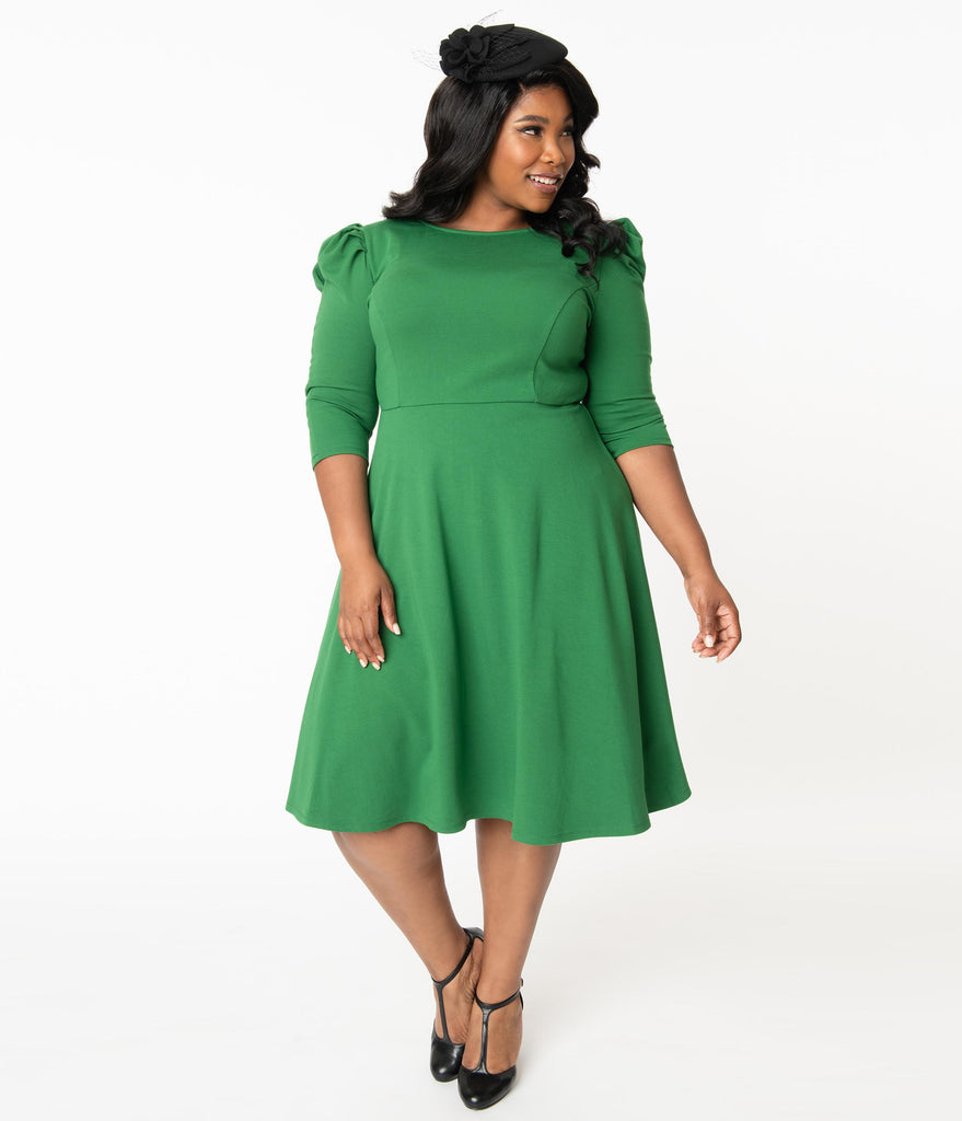 Unique Vintage Plus Size Green Garber Fit & Flare Dress