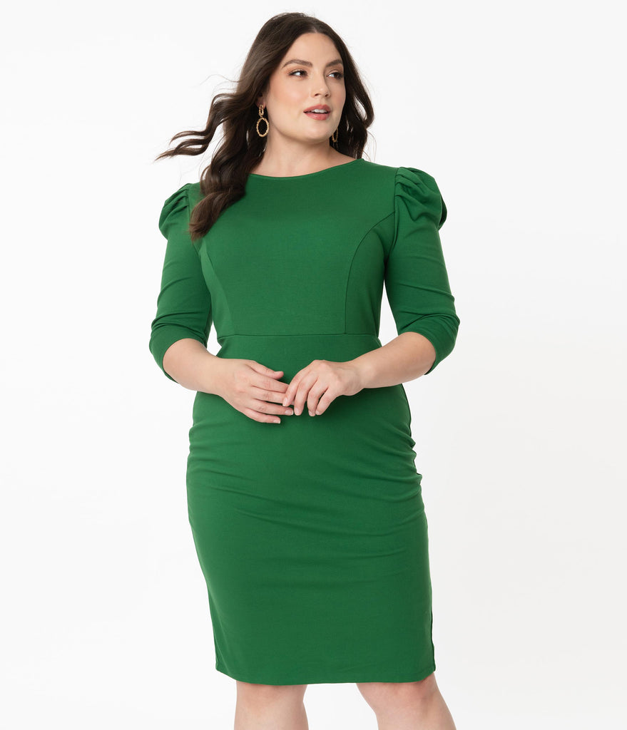 Unique Vintage Plus Size 1960s Green Crawford Wiggle Dress