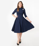 Unique Vintage 1950s Navy Nicola Swing Dress