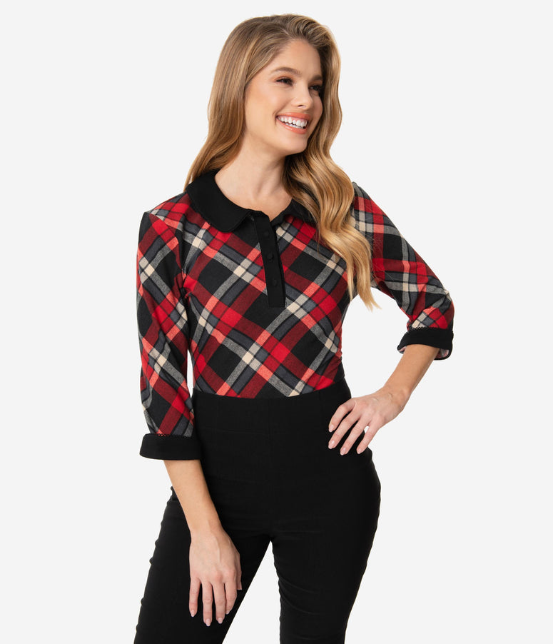 Unique Vintage 1950s Red & Black Plaid Sara Blouse