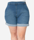 Hell Bunny Plus Size Medium Blue Denim High Waist Nash Short