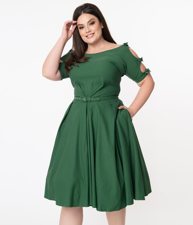 Unique Vintage Plus Size 1950s Green Selma Swing Dress