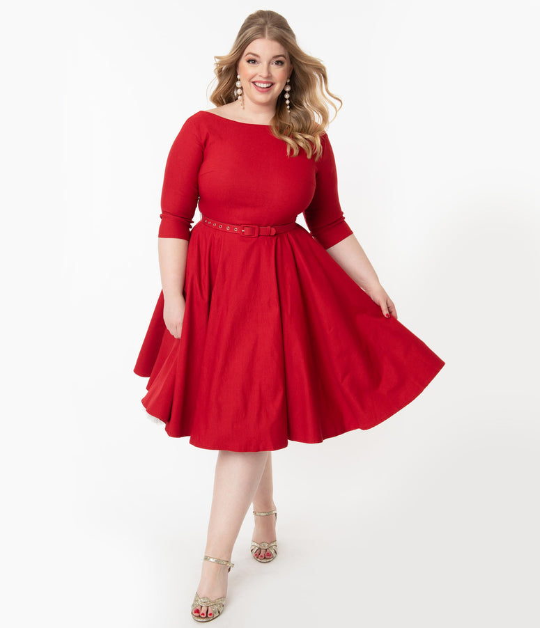 Unique Vintage Plus Size 1950s Red Devon Swing Dress