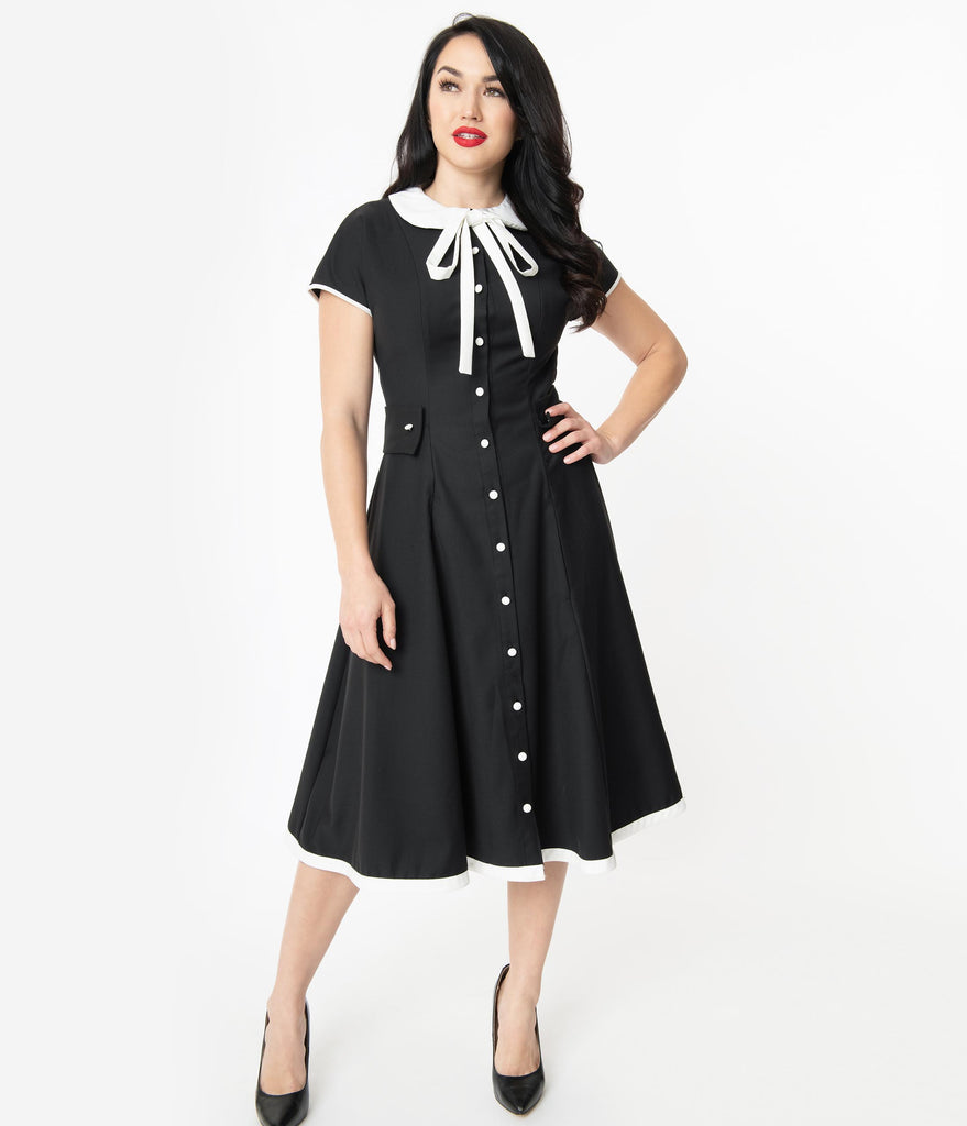 Unique Vintage 1950s Black & White Brandwyn Swing Dress