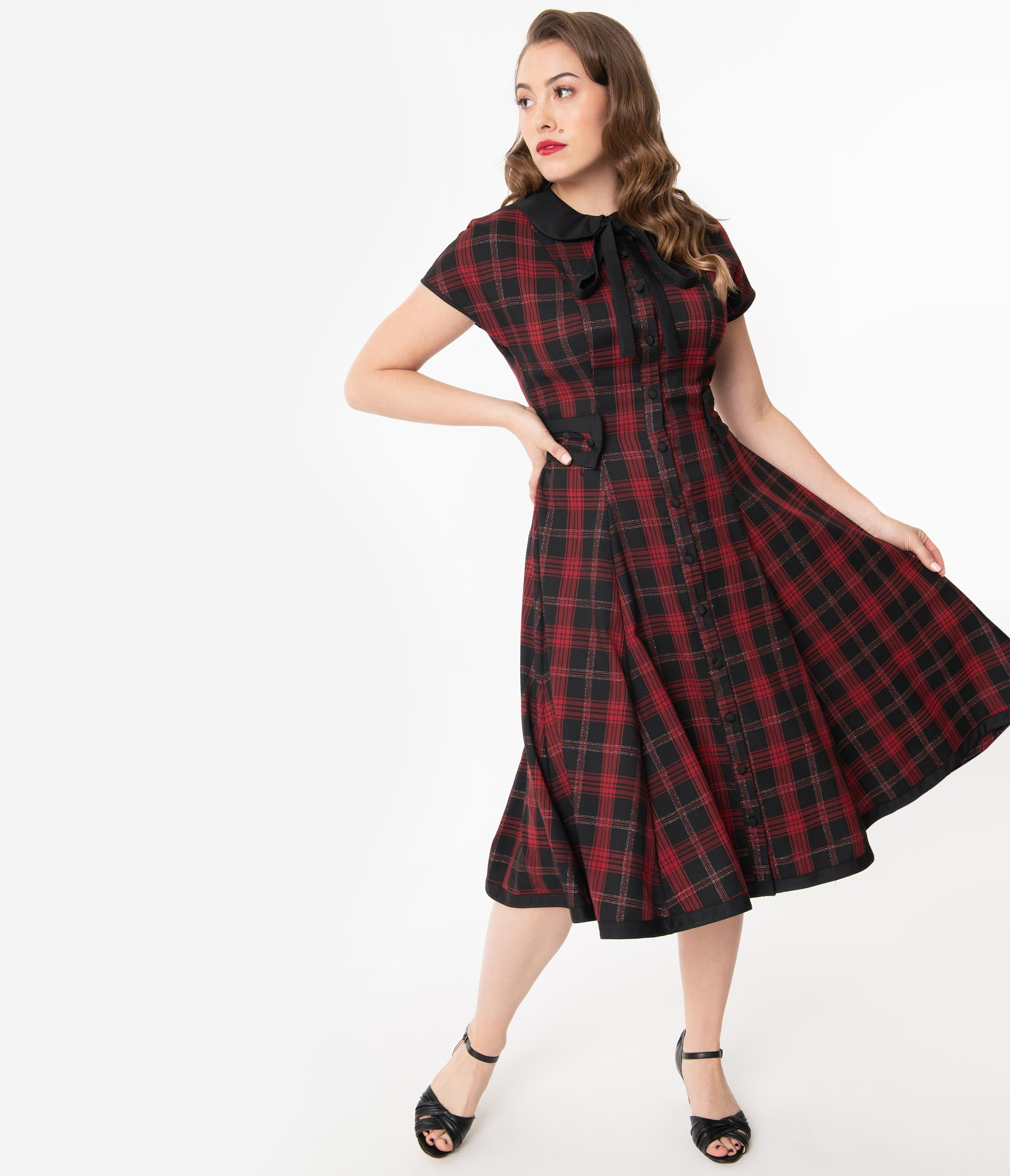 Pin Up Girl Costumes | Pin Up Costumes Unique Vintage 1950S Black  Red Plaid Brandwyn Swing Dress $118.00 AT vintagedancer.com