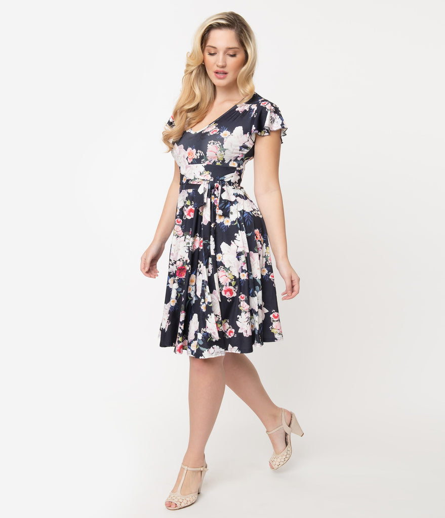 Hell Bunny Navy Blue Floral Print Flutter Sleeve Tussy Mussy Dress