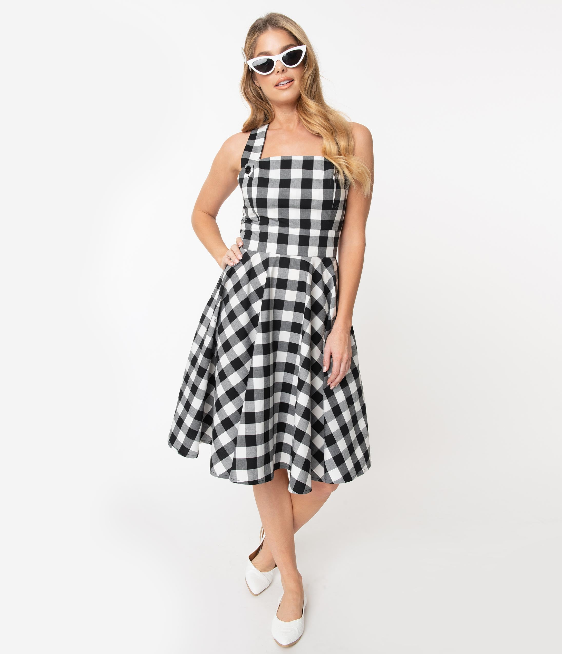 1950s Dresses, 50s Dresses | 1950s Style Dresses Hell Bunny Black  White Gingham Victorine Pinafore Dress $78.00 AT vintagedancer.com