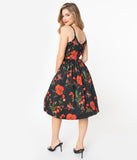 Hell Bunny Black & Red Poppy Print Swing Dress