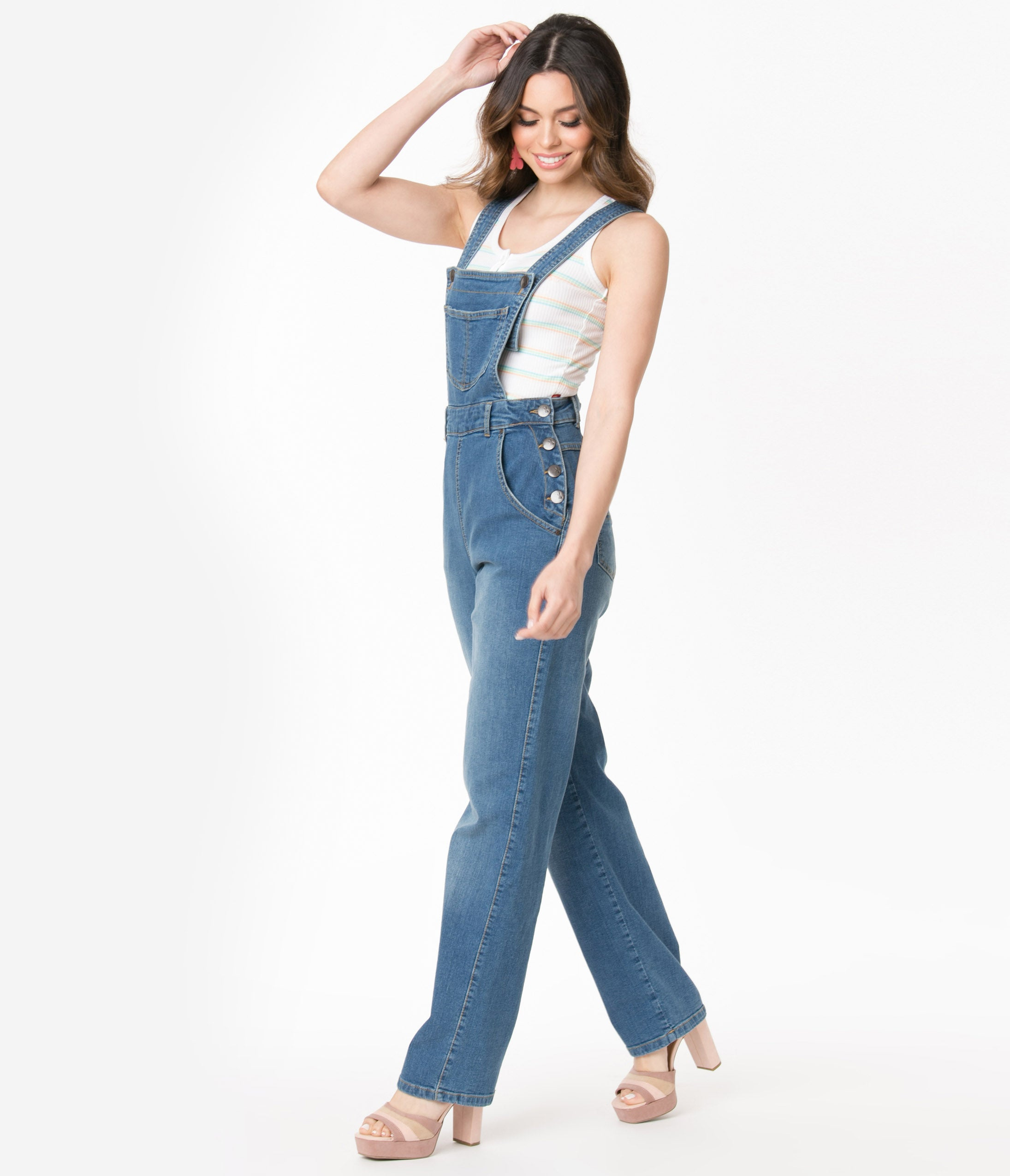 1950s Pants & Jeans- High Waist, Wide Leg, Capri, Pedal Pushers Hell Bunny Blue Jean Betty Bee Denim Dungaree $82.00 AT vintagedancer.com