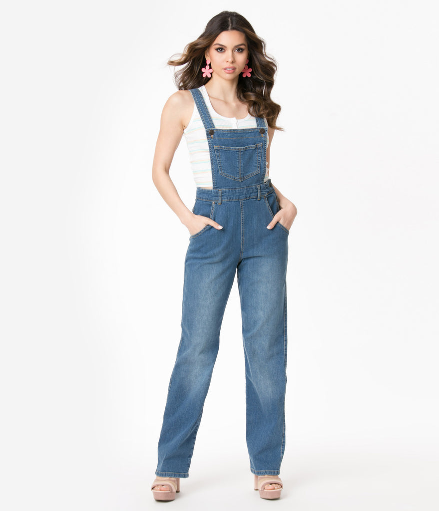 Hell Bunny Blue Jean Betty Bee Denim Dungaree