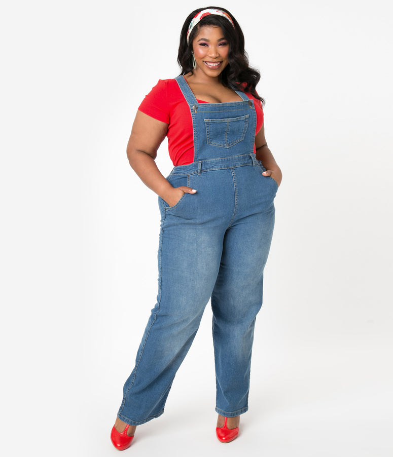 Hell Bunny Plus Size Blue Jean Betty Bee Denim Dungaree