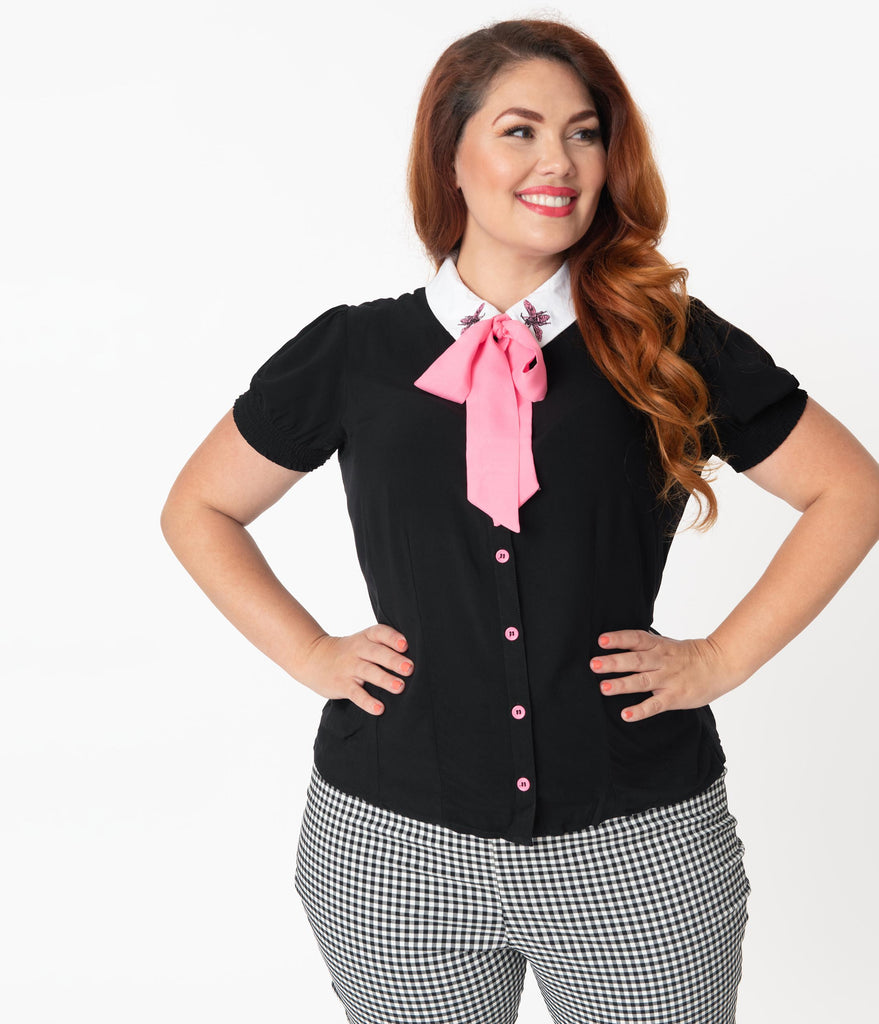 Hell Bunny Plus Size Black & Pink Bow Tie Bee Buzz Blouse
