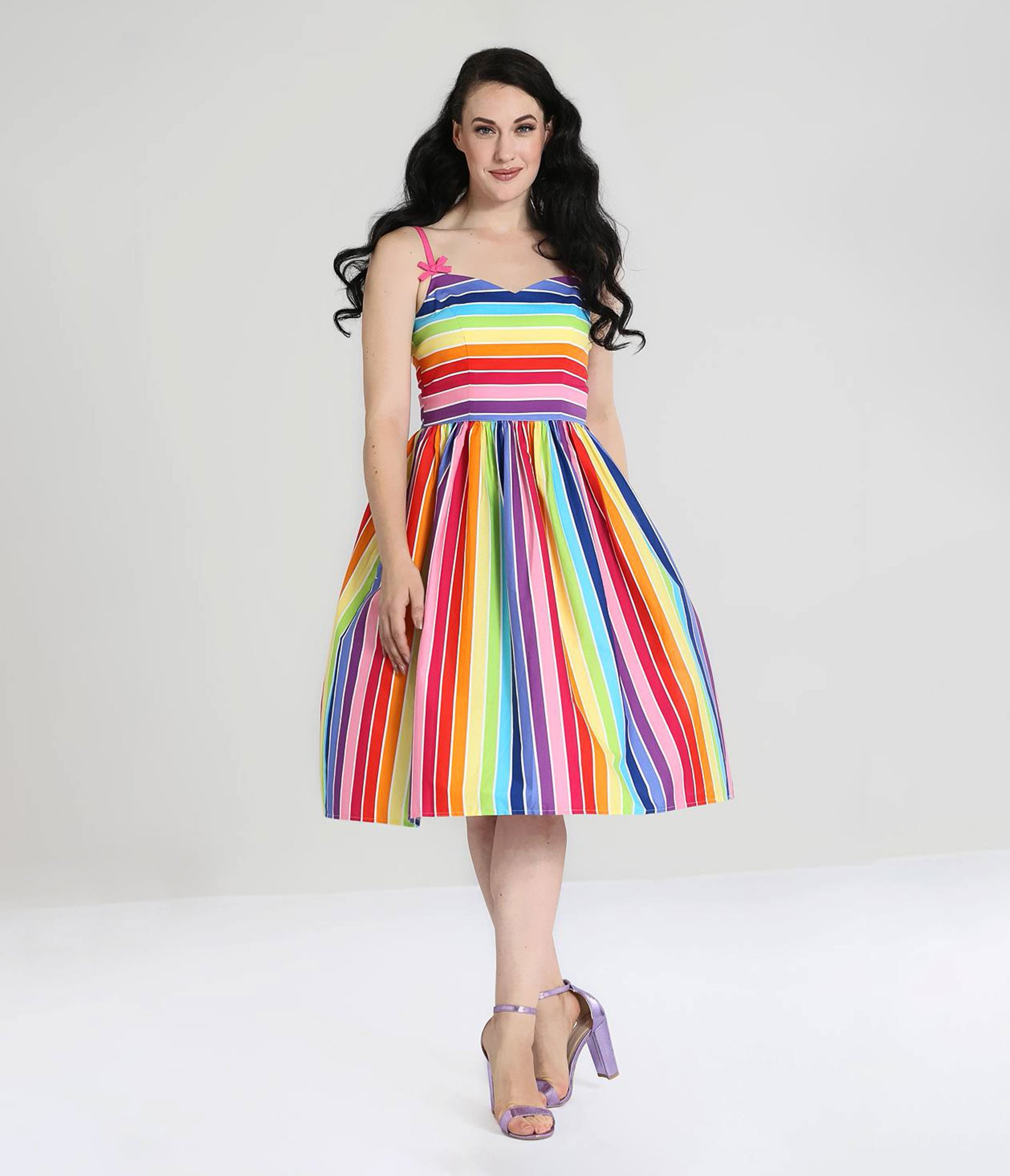 1950s Dresses, 50s Dresses | 1950s Style Dresses Hell Bunny 1950S Over The Rainbow Swing Dress $82.00 AT vintagedancer.com