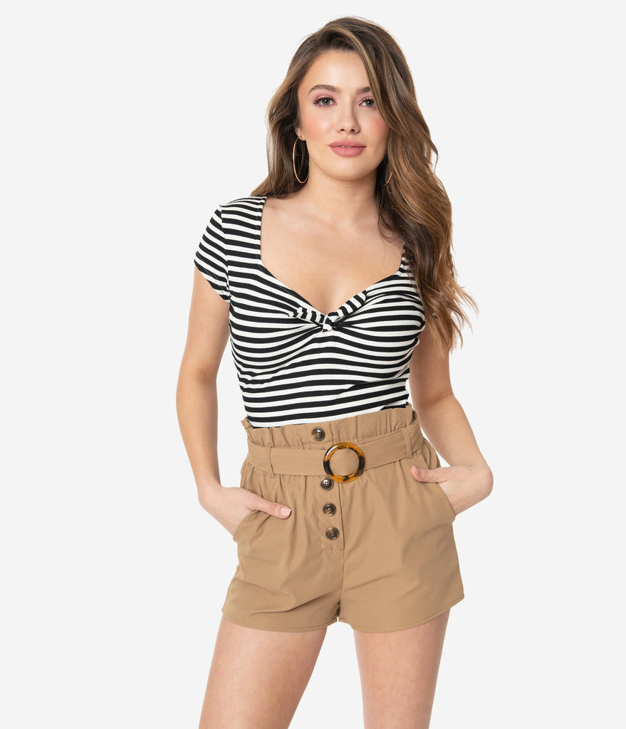 Tan Belted Paper Bag Waist Shorts