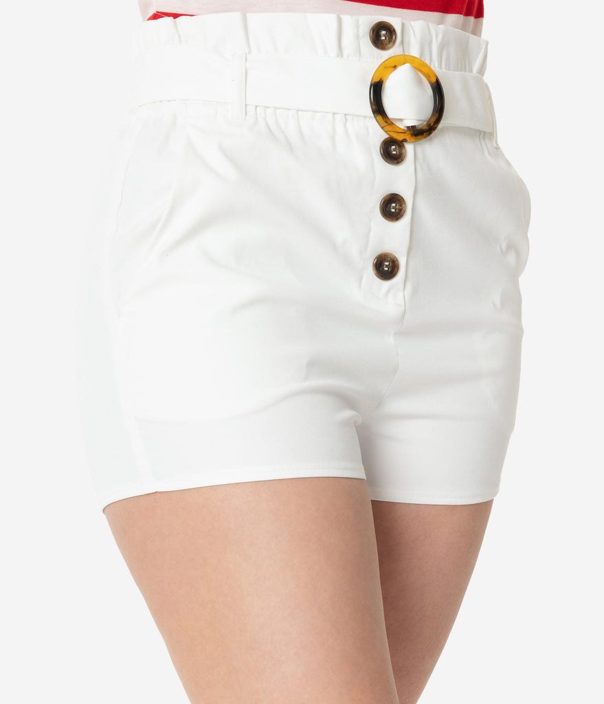 White Belted Paper Bag Waist Shorts