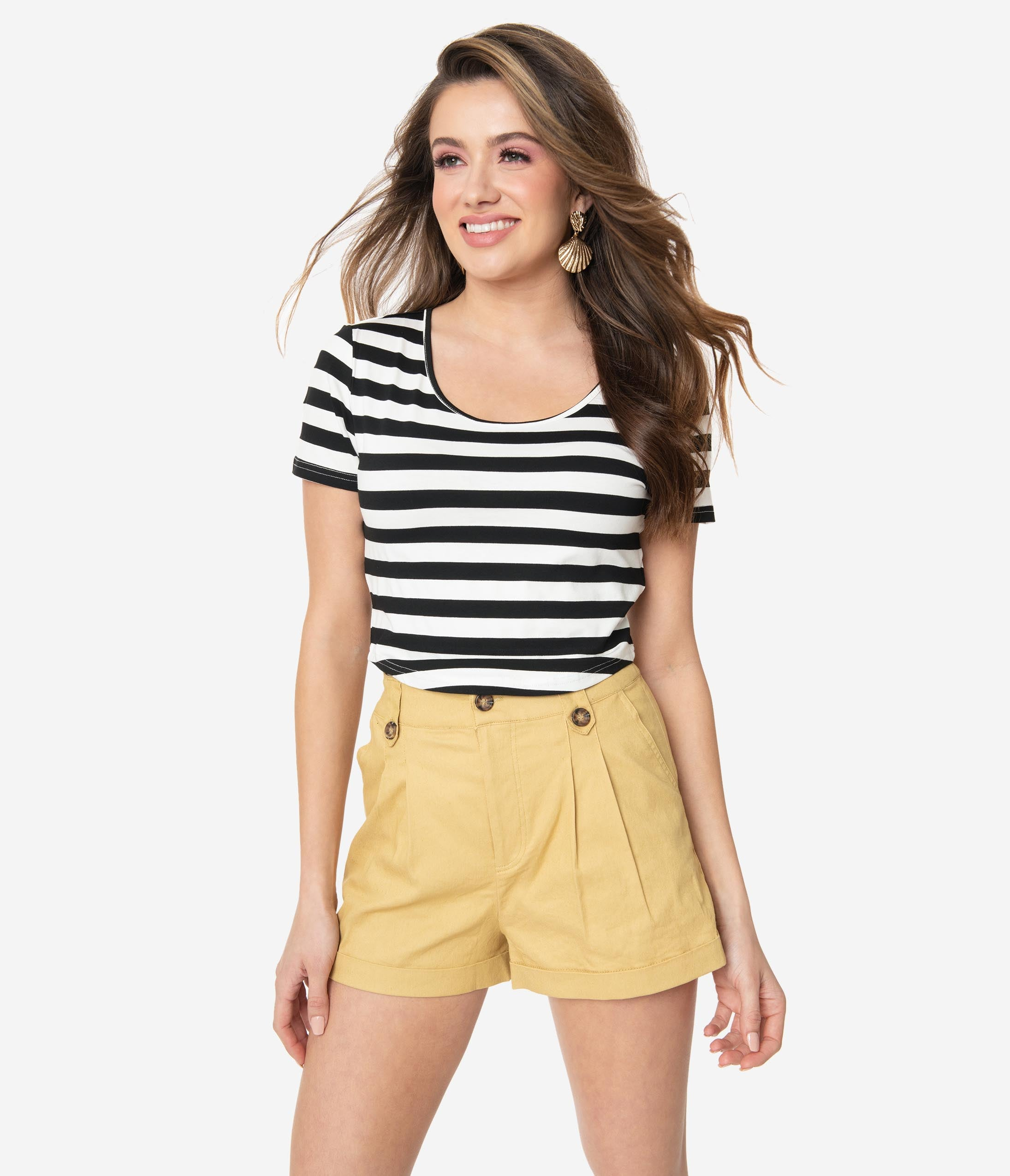 Vintage High Waisted Shorts, Sailor Shorts, Retro Shorts Mustard Yellow Pleated High Waist Shorts $38.00 AT vintagedancer.com