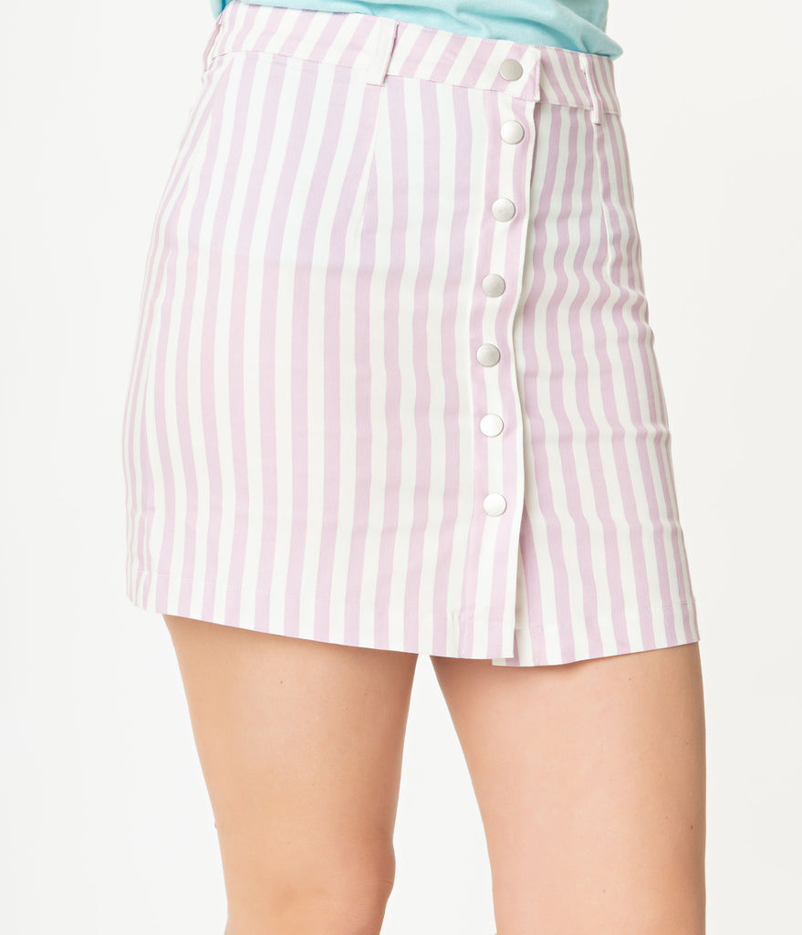 White & Lavender Striped Button Front Mini Skirt