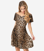 Animal Leopard Print Knit Off the Shoulder Dress With Ruffles
