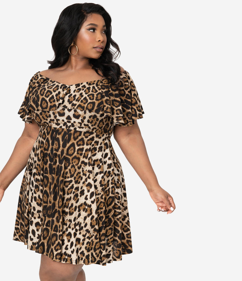 Unique Vintage Plus Size Leopard Print Gidget Fit & Flare Dress
