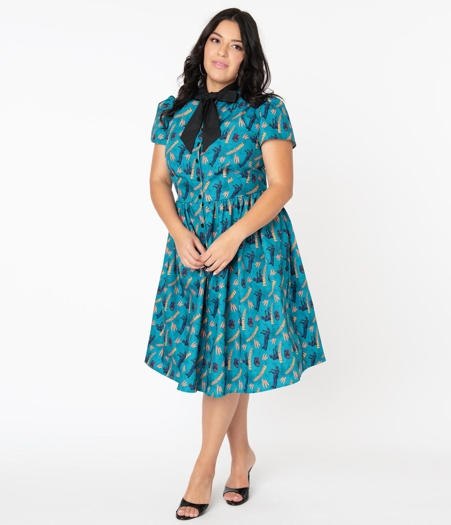 Universal Monsters x Unique Vintage Plus Size Frankenstein Print Cora Swing Dress