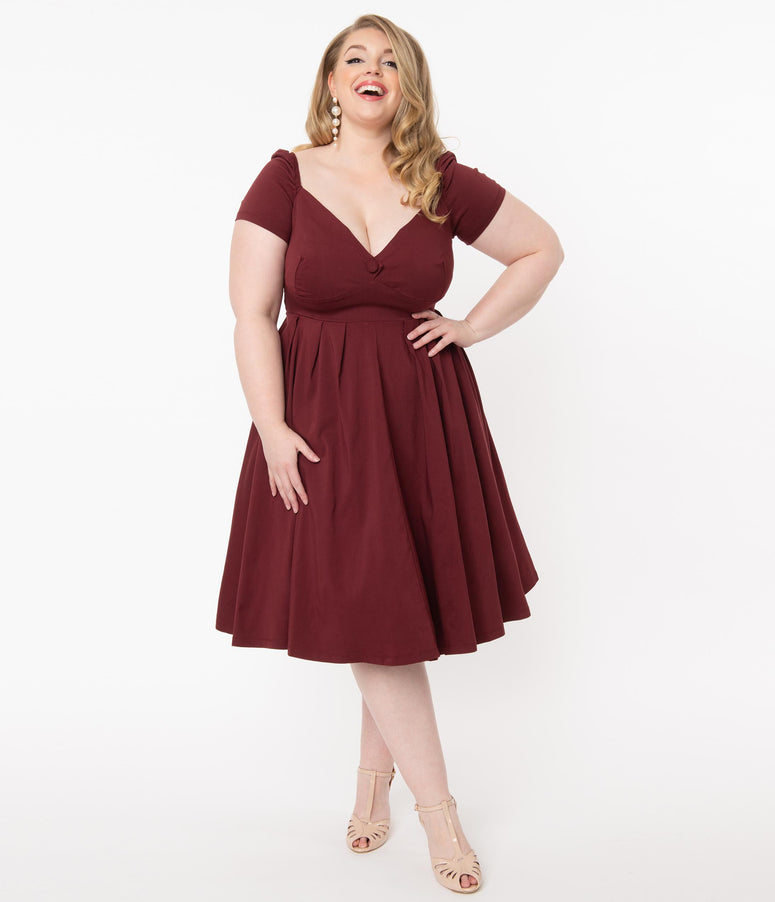Unique Vintage Plus Size 1950s Burgundy Sweetheart Midge Swing Dress