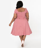 Unique Vintage Plus Size 1950s Rose Sweetheart Midge Swing Dress