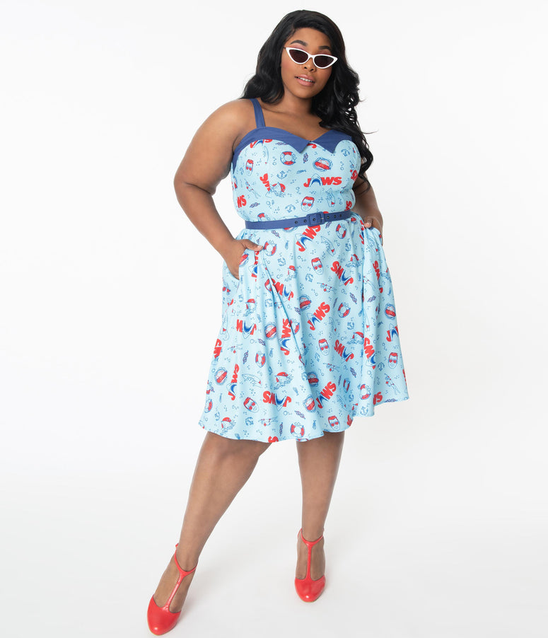 Jaws x Unique Vintage Plus Size Jaws Icon Print Rachel Swing Dress