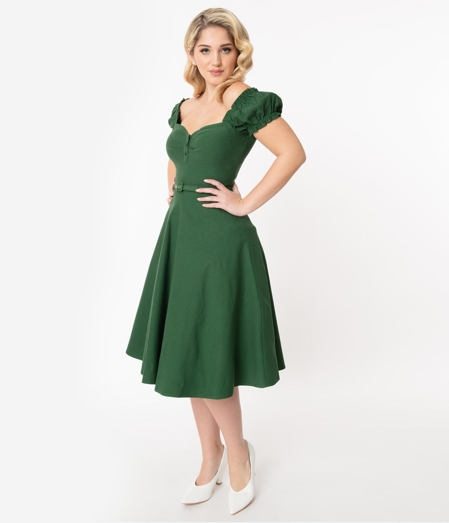 Unique Vintage 1950s Emerald Ohara Swing Dress