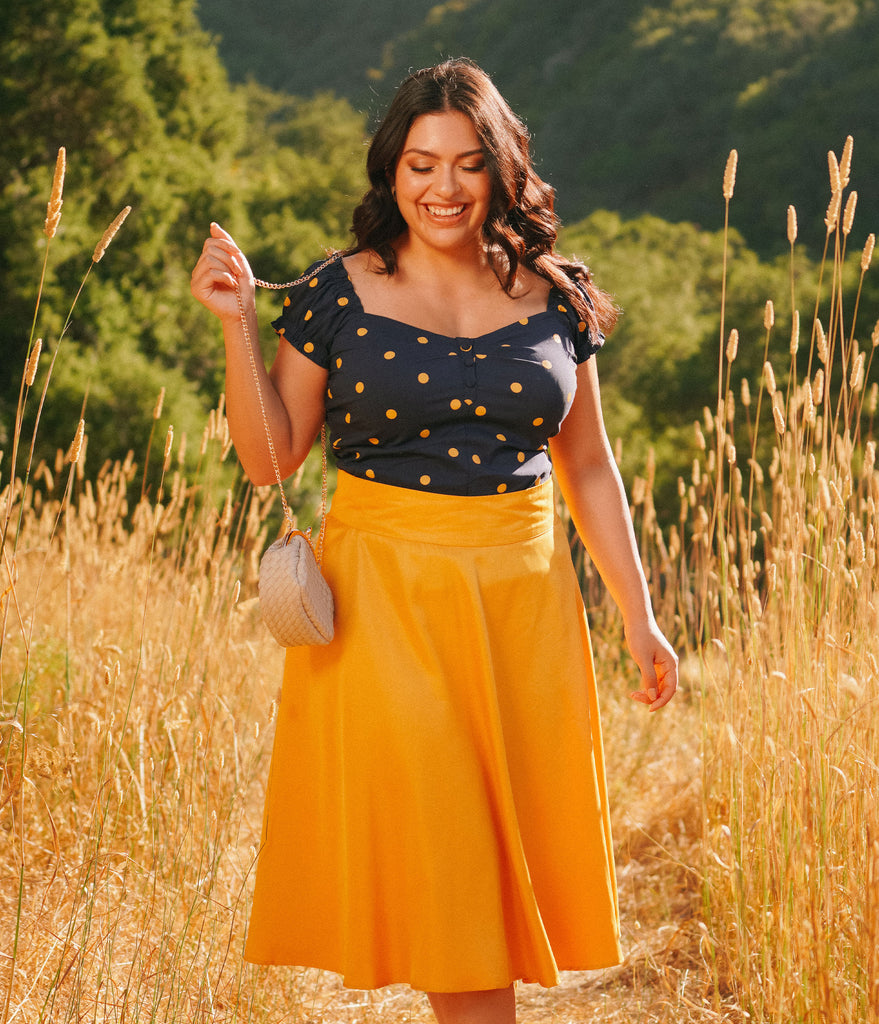 Unique Vintage Plus Size Navy & Mustard Polka Dot Sweetheart Loretta Top