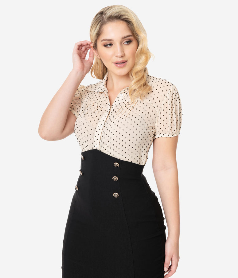 Unique Vintage 1950s Cream & Black Clip Dot Caroline Blouse