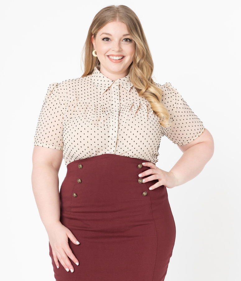 Unique Vintage Plus Size 1950s Cream & Black Clip Dot Caroline Blouse