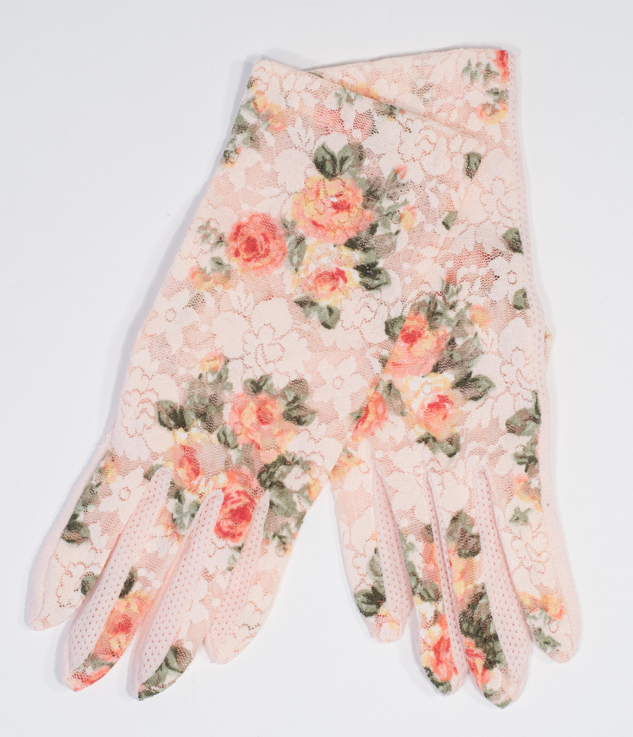 Vintage Gloves History- 1900, 1910, 1920, 1930 1940, 1950, 1960 Blush Floral Sheer Wrist Gloves $24.00 AT vintagedancer.com