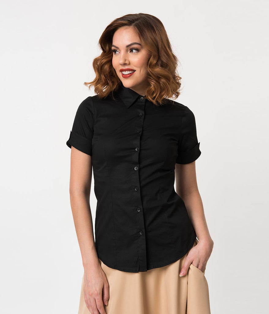 Black Collared Short Sleeve Button Up Blouse