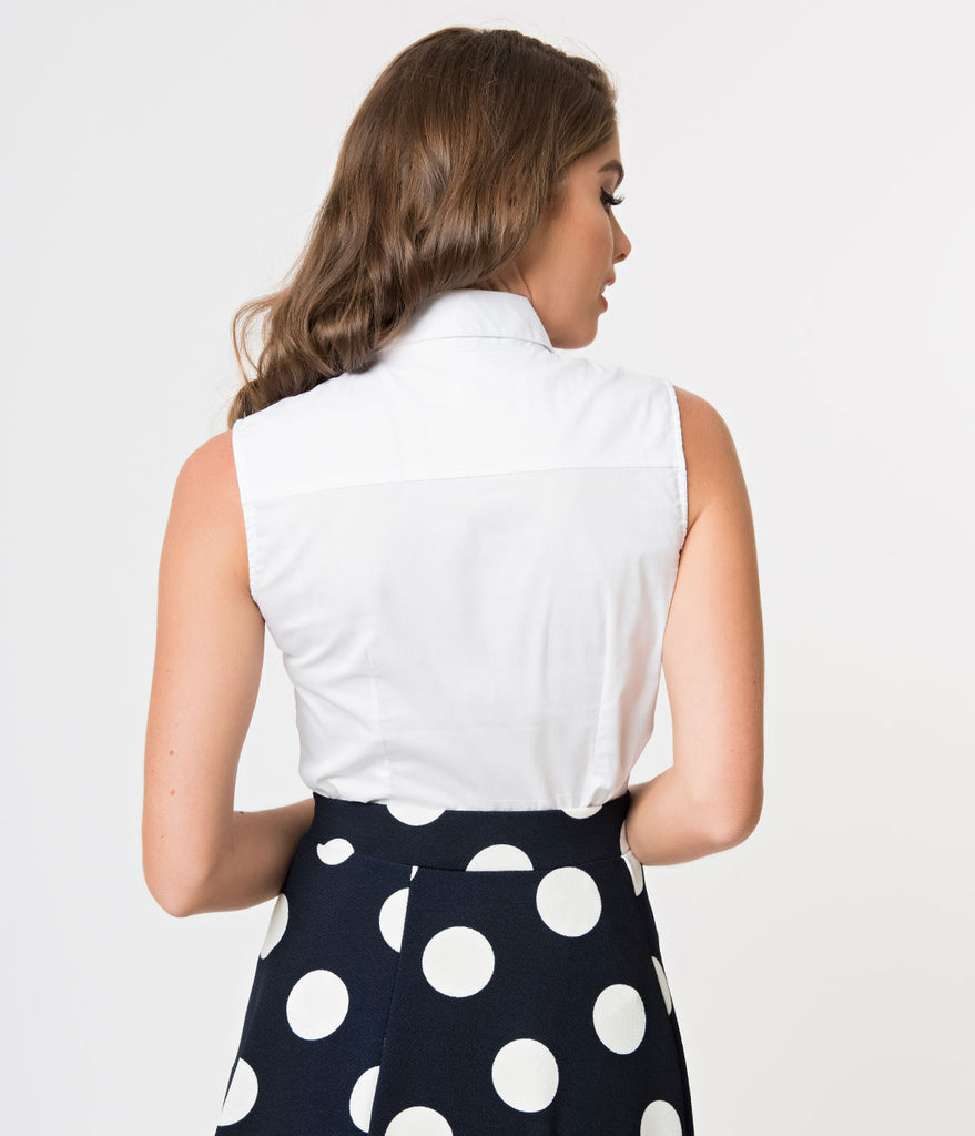 White Collared Sleeveless Button Up Blouse