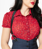 Unique Vintage 1950s Red Confetti Print Caroline Blouse