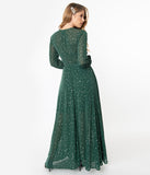 Unique Vintage Green & Silver Stars Farrah Maxi Dress