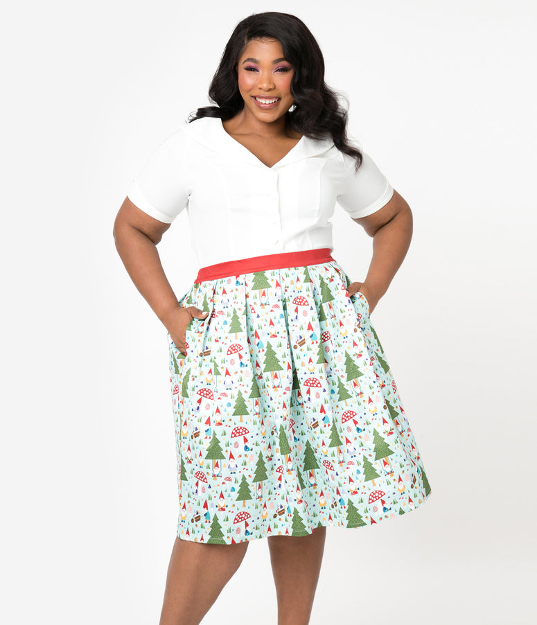 Unique Vintage Plus Size Forest Gnome Scene Jayne Swing Skirt