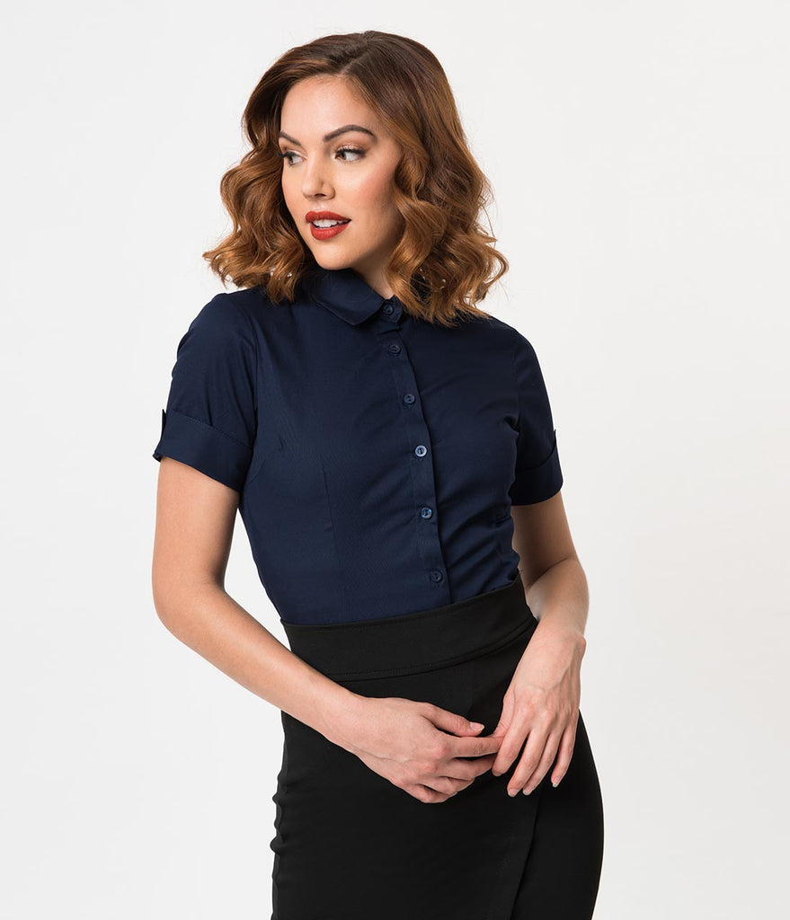 48ff7f894 Retro Style Navy Blue Short Sleeve Collared Button Up Blouse – Unique  Vintage
