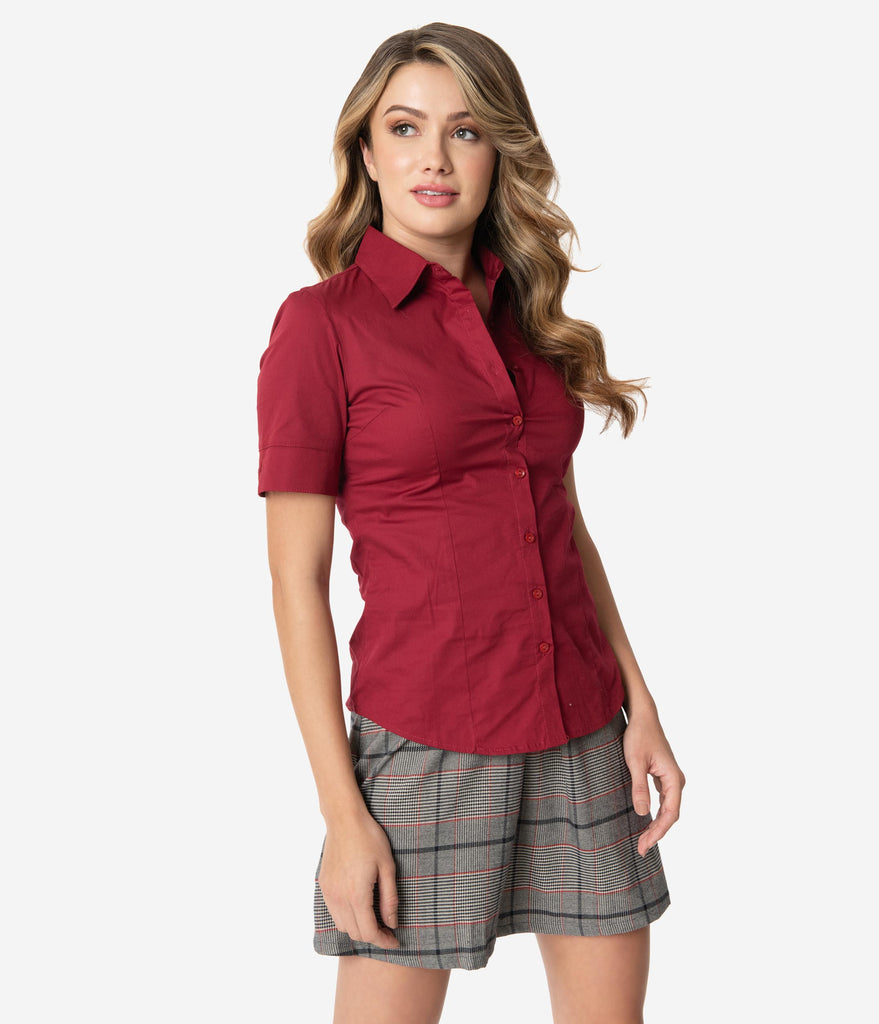 Retro Style Burgundy Short Sleeve Collared Button Up Cotton Blouse