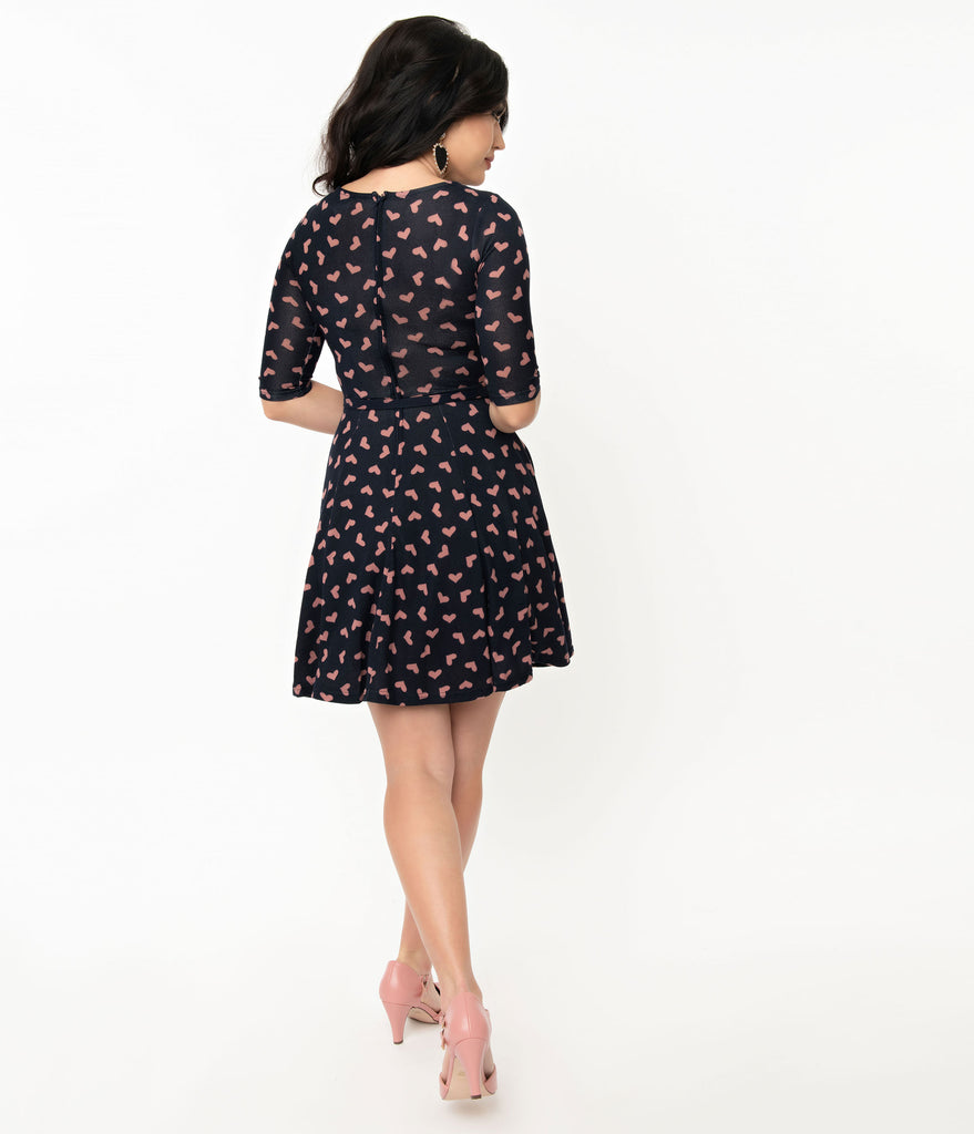 Unique Vintage Navy & Pink Heart Stephanie Fit & Flare Dress
